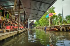 Shops in the famous floating market in Thailand Stock Image