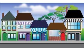 Shops, Häuser, Straße stock abbildung