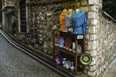 Shops Istambul. In a raining day Royalty Free Stock Photo