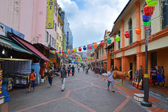 Shops and lantern decoration at Campbell Lane in Little India, Singapore Stock Images