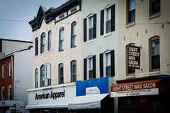 Shops on Light Street in Federal Hill, Baltimore, Maryland. Royalty Free Stock Photography