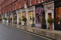 Shops in London Chiltern Street Christmas trees decorations Stock Photo
