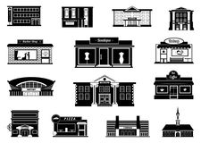 Shops, markets and others municipal buildings. Monochrome urban vector illustrations Stock Photos