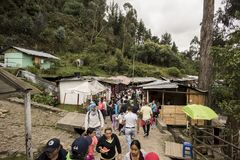 Shops on the Monserrate Trail. Shops offering snacks to those who make the trek to the top of Monserrate in Bogota, Colombia royalty free stock photography