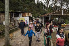 Shops on the Monserrate Trail. People hike past the shops on the Monserrate Trail as they make their trek to the top royalty free stock photography