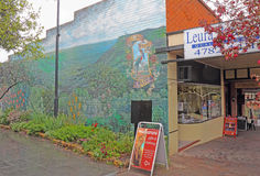 Shops and mural on Leura Mall in Leura, New South Wales, Austral Stock Images