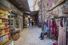 Shops in palestinian bazaar souk area of jerusalem israel Royalty Free Stock Photo