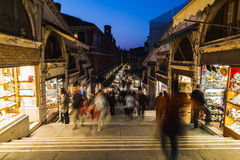 Shops and People along Rialto Bridge Stock Images