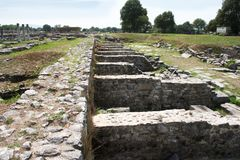 Shops at Philippi. These ruins from Ancient Philippi mark the shops at the Agora. One of these stalls may have belonged to Lydia the merchant who befriended the stock photos