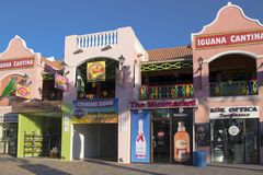 Shops and Restaurants, Aruba, Caribbean Sea royalty free stock images