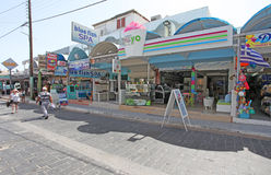 Shops and restaurants in Faliraki. Rhodes island, Greece Stock Photography