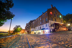 Shops and restaurants at River Street in downtown Savannah in Ge. Orgia USA Royalty Free Stock Image