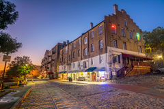 Shops and restaurants at River Street in downtown Savannah in Ge. Orgia USA Stock Image