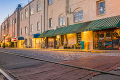 Shops and restaurants at River Street in downtown Savannah in Ge Stock Image