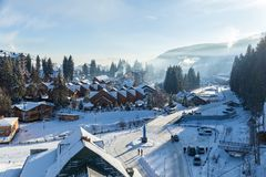 Shops and roads in Bukovel Royalty Free Stock Images