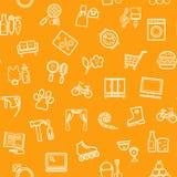 Shops, Seamless Pattern, Monochrome, Contour, Orange, Vector Royalty Free Stock Photography