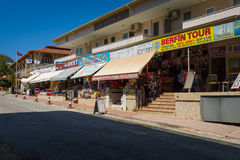 Shops selling clothing, jewelery, knitwear and souvenirs on the Anatolian coast. Royalty Free Stock Photo