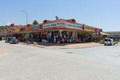 Shops selling clothing, jewelery, knitwear and souvenirs on the Anatolian coast. Stock Image