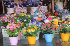 Shops selling various Decorative flower Stock Photo