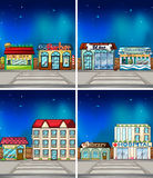 Shops. Set of many shops at night Royalty Free Stock Photos