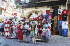Shops with souvenirs in Colmar, Alsace, France Royalty Free Stock Photo