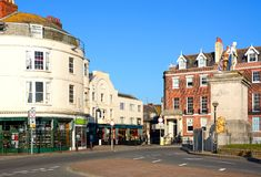 Shops and statue, Weymouth. Stock Image