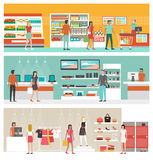Shops and stores banner set. Supermarket, electronics store and clothing shop banner set with people shopping and buying products on shelves royalty free illustration