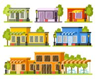 Shops and stores buildings Stock Images