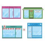 Shops and Stores Flat Icons vector illustration