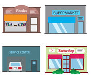 Shops and stores icons set in flat design style. Barber shop, supermarket, books shop and service center vector illustration