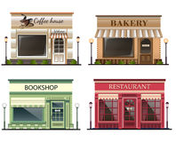 Shops and stores icons set. In flat design style. bookshop, coffee shop, bakery, restaurant. Vector illustration royalty free illustration