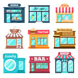 Shops and stores icons set in flat design style Stock Photography