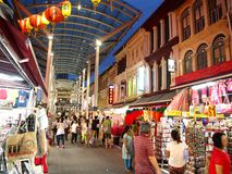 Shops and stores offer and sell a variety of local souvenir products to tourists in Chinatown, Singapore. Stock Images