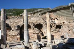 Biblical Ephesus Shops. These are shops and terrace homes in historic Ephesus. These shops have beautiful mosaic flooring. St Paul visited, conducted business Royalty Free Stock Photos