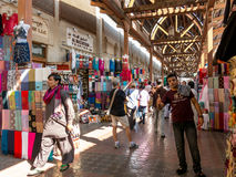 Shops in textile souk in Bur Dubai Royalty Free Stock Photo