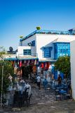 Shops in a touristic village. Shops and bars in the touristic village of Sidi Bou Saïd in Tunisia Stock Images