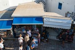 Shops in a touristic village. Shops in the touristic village of Sidi Bou Saïd in Tunisia Royalty Free Stock Image