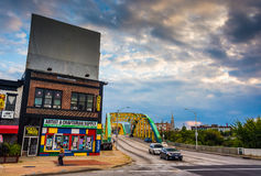 Shops and traffic on the Howard Street Bridge in Baltimore, Mary Stock Photo