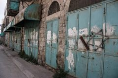 Shops welded tight by the Israeli Defense Forces in apparent pro royalty free stock image