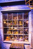 Shops windows display with magic objects in Diagon Alley from Harry Potter film. Warner Brothers Studio. UK Royalty Free Stock Photos