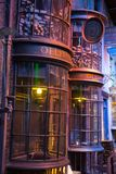 Shops windows display with magic objects in Diagon Alley from Harry Potter film. Warner Brothers Studio. UK Royalty Free Stock Photography