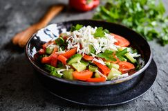 Shopska沙拉-保加利亚沙拉用蕃茄、黄瓜、胡椒、薤、荷兰芹和乳酪 免版税库存照片