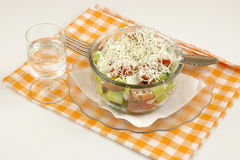 Shopska salad and ouzo Stock Photos