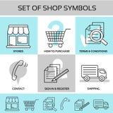 Shopsymbole, Navigation - Speicher, wie man, allgemeine Geschäftsbedingungen, Kontakt, unterzeichnen herein und registrieren kauf lizenzfreie abbildung