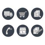 Shopsymbole, Navigation - Speicher, wie man, allgemeine Geschäftsbedingungen, Kontakt, unterzeichnen herein und registrieren kauf vektor abbildung