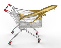 Shopwarenkorb und -flugzeuge Lizenzfreie Stockbilder
