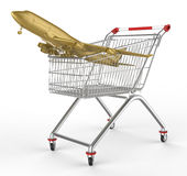 Shopwarenkorb und -flugzeuge Lizenzfreies Stockfoto