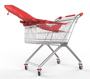 Shopwarenkorb und -flugzeuge Lizenzfreies Stockbild