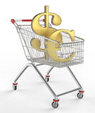 Shopwarenkorb- und -geldikone Stockfotografie