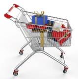 Shopwarenkorb und -geschenk Stockbilder